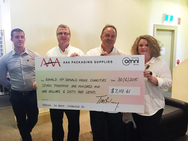 AAA Packaging Suppliers Donations to Ronald McDonald House Charities